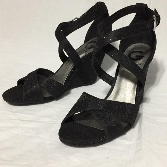 6e6a8c3e5fb5 G by Guess Harpee Black Strappy Glitter Heels. NWT